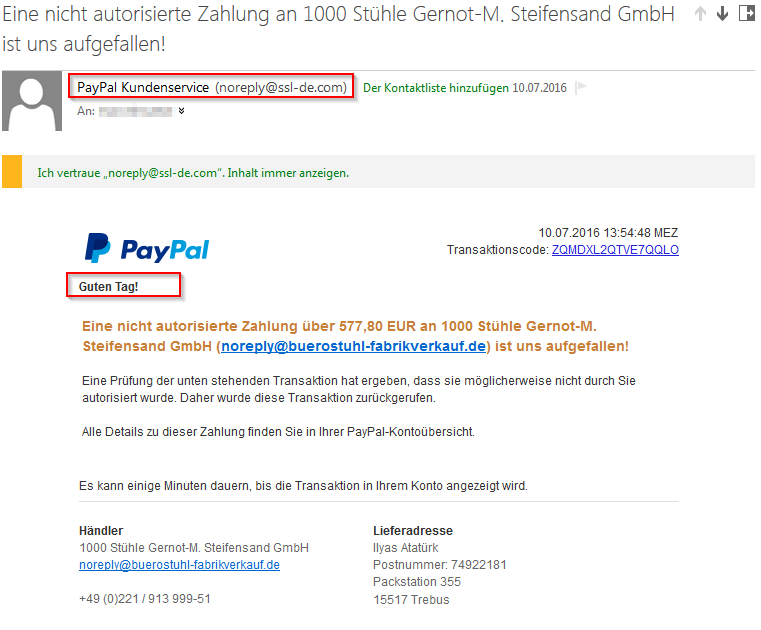 Phishing Mail, kein Original