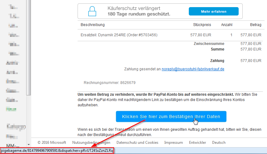 Link zu komischer URL in Phishing Mail