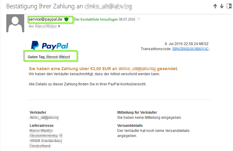 Original Mail von PayPal