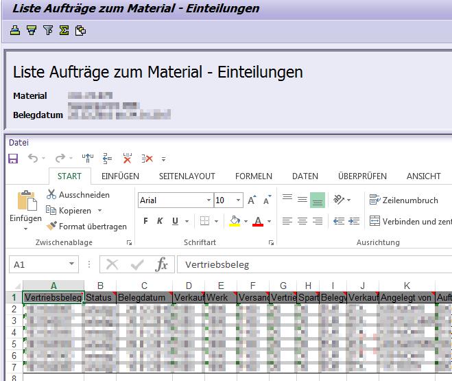 Tabellen aus SAP in Excel öffnen