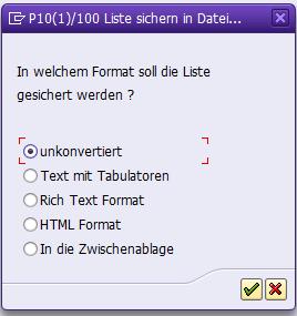 Exportmöglichkeiten für Tabellen aus SAP