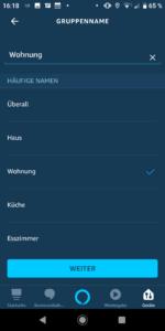 Alexa App - Lautsprecher-Gruppe benennen