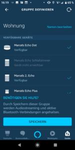 Alexa-App Geräte zur Lautsprecher-Gruppe hinzufügen